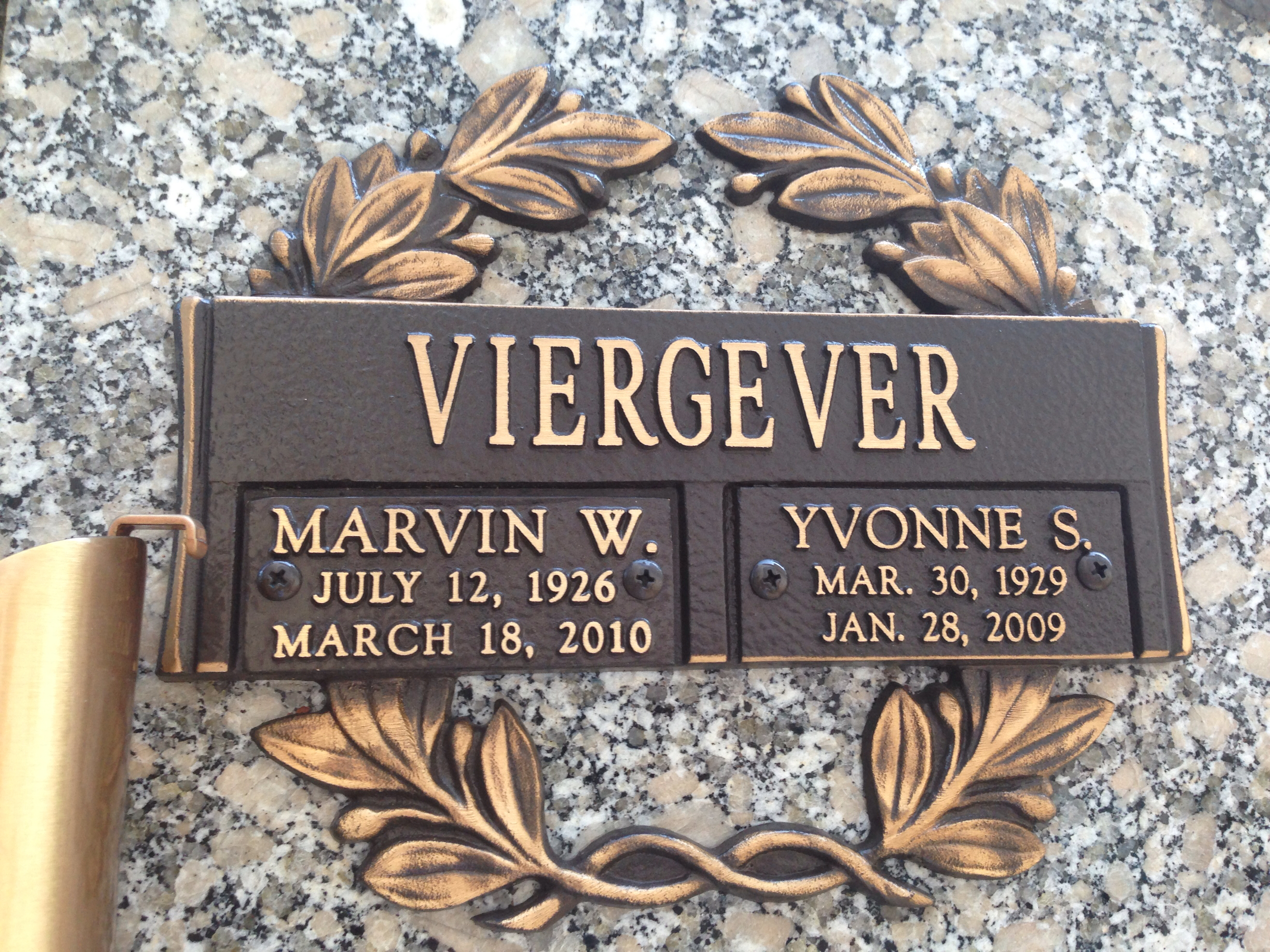 Marvin Wayne Viergever 1926-2010 and Yvonne Shirley -Bonnie- Reeves 1929-2009